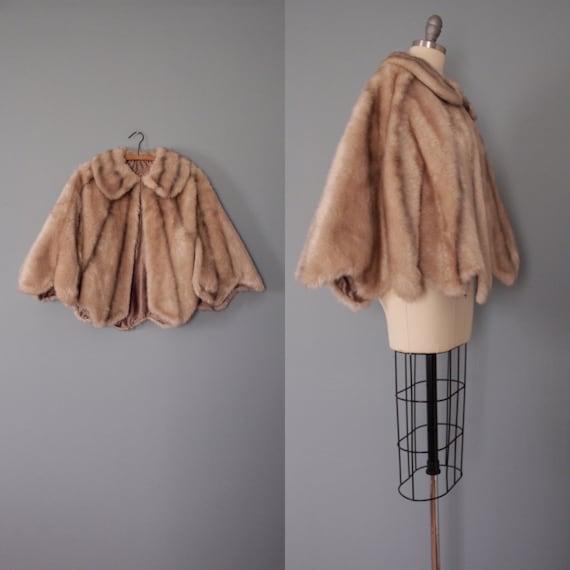 FAUX FUR capelet   1970s SEARS Fashions cape   str