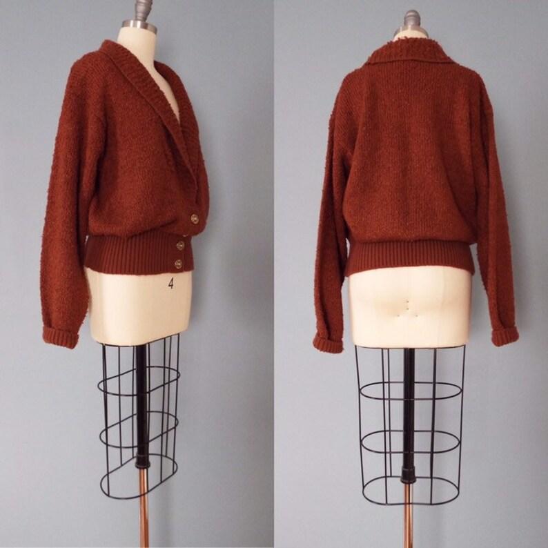 CINNAMON boucle cardigan shawl collar  cardigan