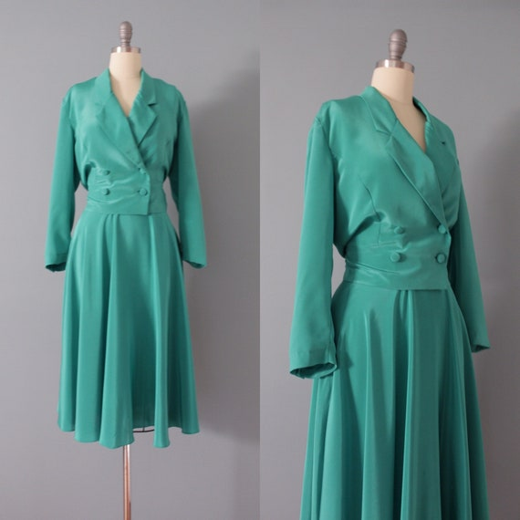 KELLY green skirt set | cropped jacket and skirt s