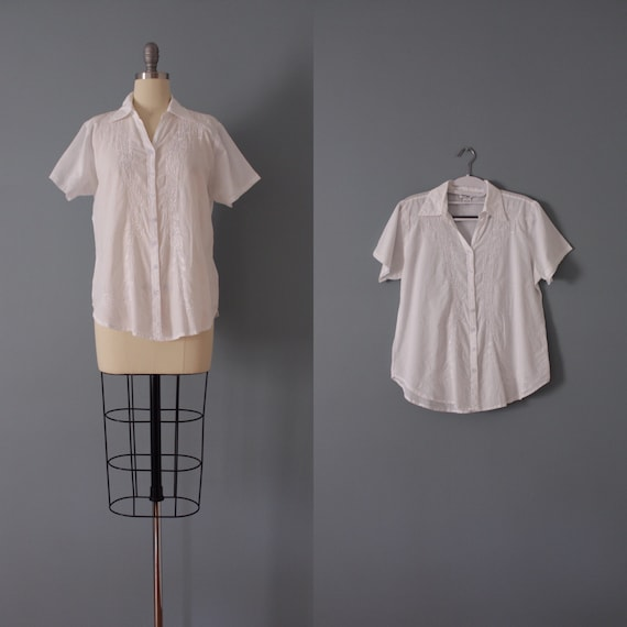 CLOUD white cotton top | embroidered cotton blouse
