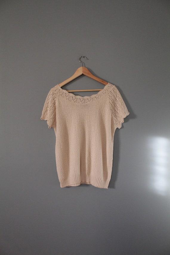 DROP shoulders knitted top | cream beige cotton t… - image 10