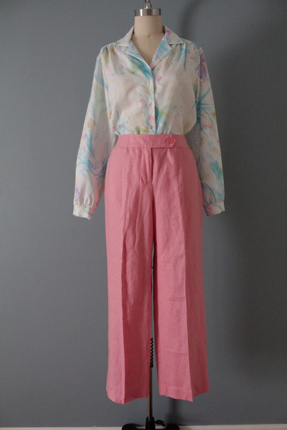 ROSE pink linen trousers   flared sailor pants   … - image 2
