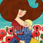 You are so so very loved.   Mom and baby art. Print.