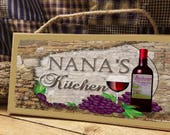 Nana 39 s Kitchen Italian Vintage Style Wine Cellar 5 quot x 10 quot SIGN Wall Plaque