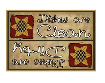 """Dishes Are Clean Dishes Are Dirty Dishes Dishwasher Sunflowers Fridge Refrigerator Magnet 3.5""""X2.5"""""""