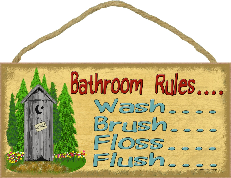 Bathroom Rules Wash Brush Flose Flush 5 x 10 | Etsy