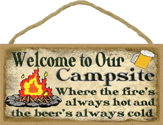 Blackwater Trading Rustic Welcome to Our Campsite Fun and Games Until Someone Loses a Wiener Decor Sign Plaque 5x10