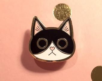 Black and White Tuxedo Cat Enamel Pin