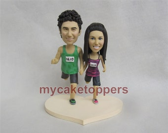 running wedding cake topper, cake topper,  look like you,racing cake topper, running