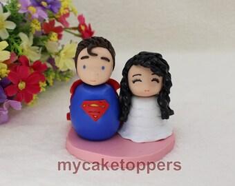 Custom wedding cake topper,  cute cake topper, personalized cake toppers, superman, superhero, cartoon, unique, funny cake topper, cupcake