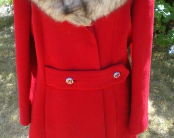 Vintage Red Wool with Fur Collar Coat**Rhinestone Buttons**