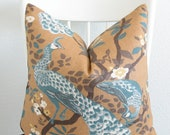 Dwell Studio Vintage Plumes Peacock Copper Throw Pillow Cover Available in Lumbar, Bolster, Euro Sham Cover