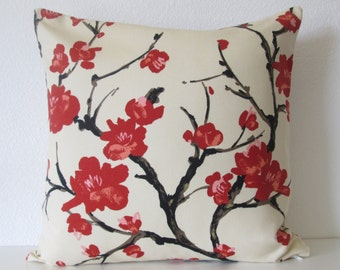Flowering Branch Silk Cherry Blossom 20x20 Throw Pillow Cover