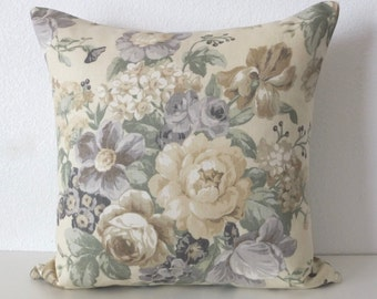 20x20 Large Floral Neutral Muted Tones Linen Pillow Cover