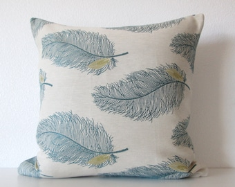 Decorative pillow cover Cream - Teal - Feathers - Throw Pillow Cover