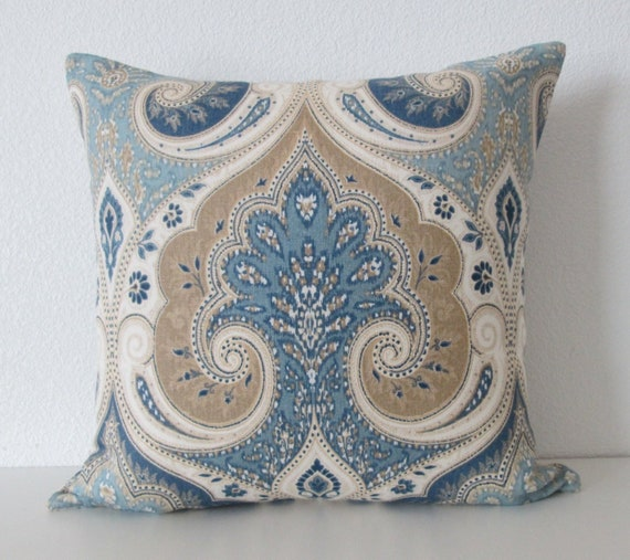 Ethan Allen Anjali Blue Latika Delta Medallion Linen Blue Etsy Simple Ethan Allen Decorative Pillows