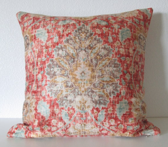 Ethan Allen Chakra Cinnabar Sariz Cerise Red Brown Blue Etsy Classy Ethan Allen Decorative Pillows