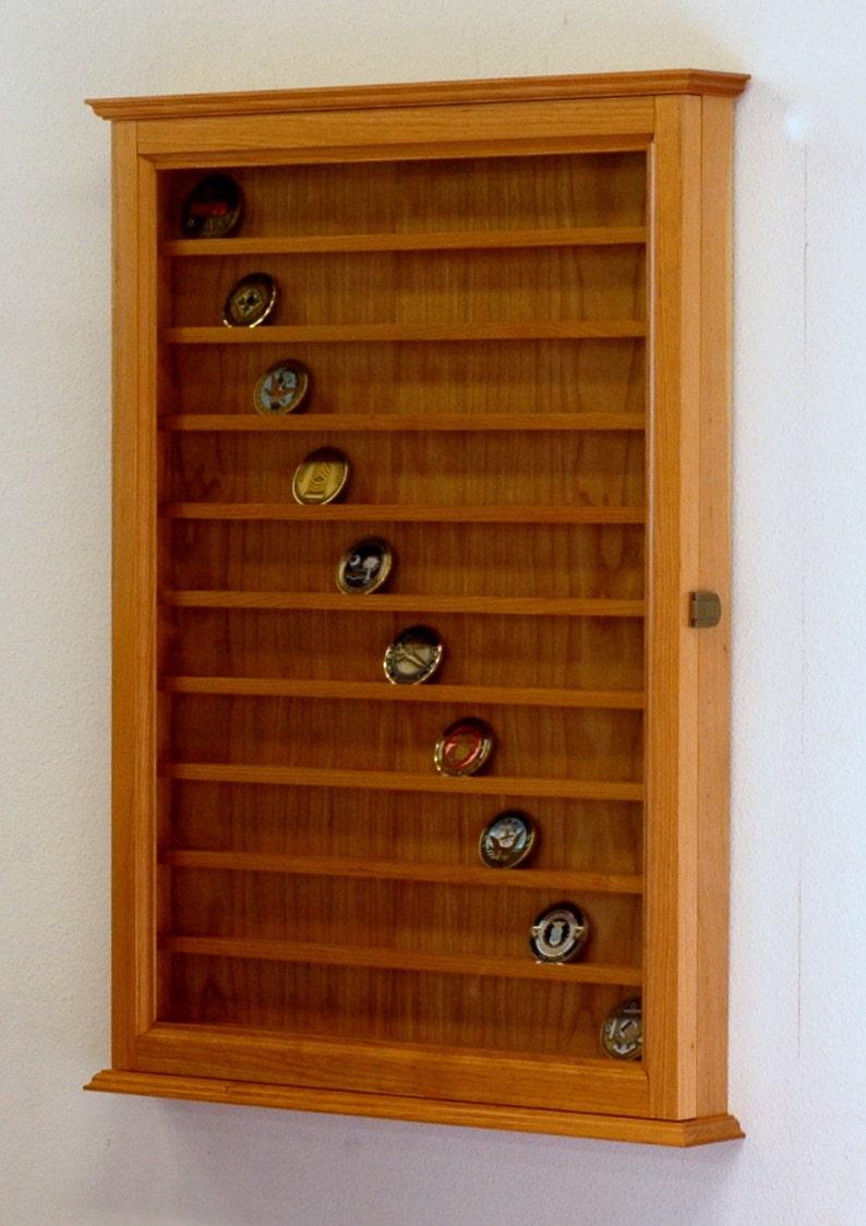 90 Military Challenge Coin Display Cabinet-Cherry Hardwood