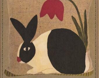 "Primitive Folk Art Wool Applique Pattern:  ""SPRINGTIME RABBIT"" - Design by Norma Whaley"