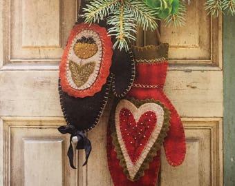 Primitive Folk Art Wool Applique Pattern - MERRY MITTENS - Design by Rebekah Smith