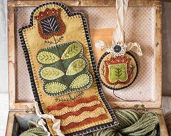 New! Primitive Folk Art Wool Applique Pattern:  SEWING ROLL SET - Design is by Rebekah L. Smith