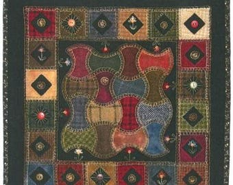 Primitive Folk Art Wool Applique Pattern:  GARDEN WALK - Designed by Lori Kabat of Lily Anna Stitches