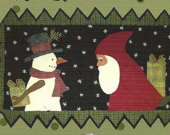 "Primitive Folk Art Wool Applique Pattern:  ""TIS THE SEASON"" - Design by Bonnie Sullivan"
