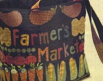 Primitive Folk Art Wool Applique Pattern: FARMERS MARKET TOTE - Design by Farmhouse Threads