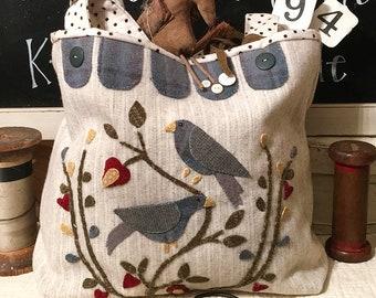 Primitive Folk Art Wool Applique Hand Bag Pattern:  BYRDS AND BLOSSOMS - Designed by Sandra McKee of 1894 Cottonwood House