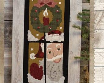 Primitive Folk Art Wool Applique Pattern:  A PEEK From SANTA - Design by Stacy West of Buttermilk Basin