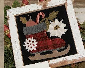 Primitive Folk Art Wool Applique Pattern:  HOLIDAY SKATE - Design by Stacy West of Buttermilk Basin