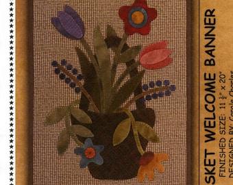 Primitive Folk Art Wool Applique Pattern: - MAY BASKET Welcome Banner - Design by Lisa Bongean