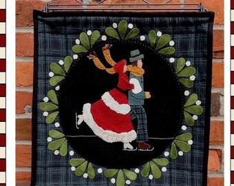Primitive Folk Art Wool Applique Pattern:  MISTLETOE SKATERS - Designed by Marlene Wymenga