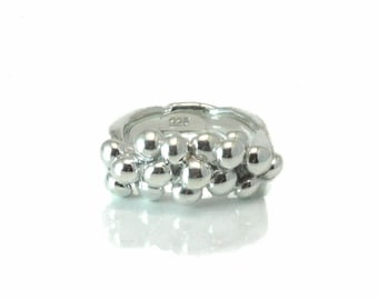 Pomegranate Sterling Silver Ring, Women's Ring, Granulated Exquisite Ring, Size 6-9, Handmade and One-of-a-kind