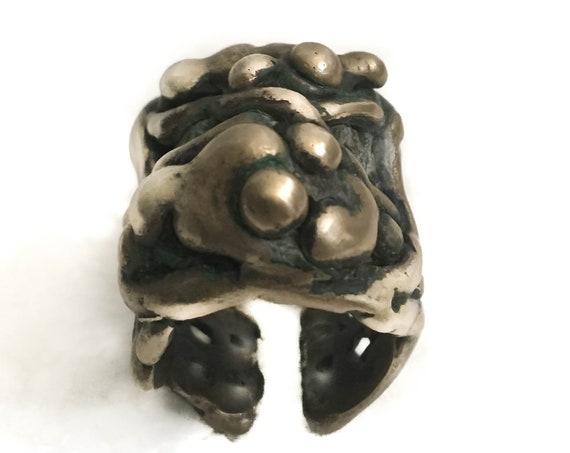 Brutalist Gothic Ring in brass
