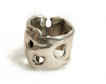 New Collection, New Item, Modern Swiss Cheese Sterling Silver .925 Ring, Handmade, Whimsical Cool Unisex Rings