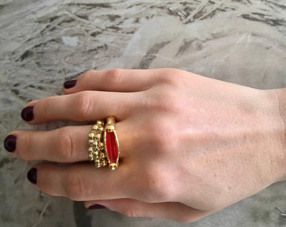 22K Gold-Plated Stackable Rings - two rings, enameled fun pop art brass rings, cool stackable rings burner jewelry made in USA free shipping