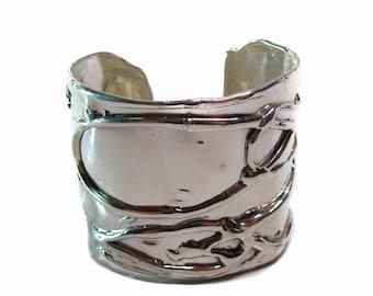 Handmade High-End Silver Bracelet, Luxury Oversized Sterling Silver .925 Byzantine Cuff,  oxidized, bohemian men's and women's cuff
