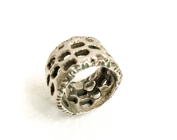 New Item - The Neo-Honeycomb Men's and Women's Ring, Unisex Handmade Cool Collection, Burner High-End, made in Williamsburg, Brooklyn design