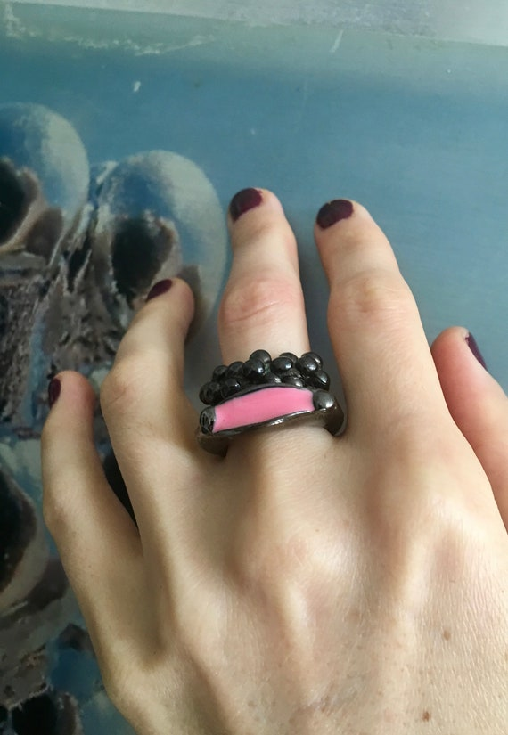 Hematite-Gunmetal-Plated Stackable Rings - two rings, enameled fun pop art brass ring, cool stackable rings, burner jewelry, made in USA