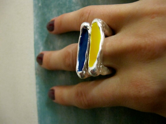 Spring Street Square Stackable Enameled Ring on Sale, available in silver and gold (various colors), the price listed is per ring