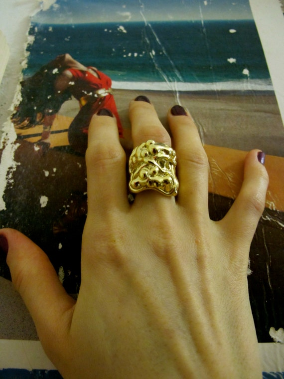 Our Best-Seller - The Amazing  Donatella Gothic Ring in silver, gold, and gunmetal plating, cool rings, mystical rings, bohemian, NYC ring
