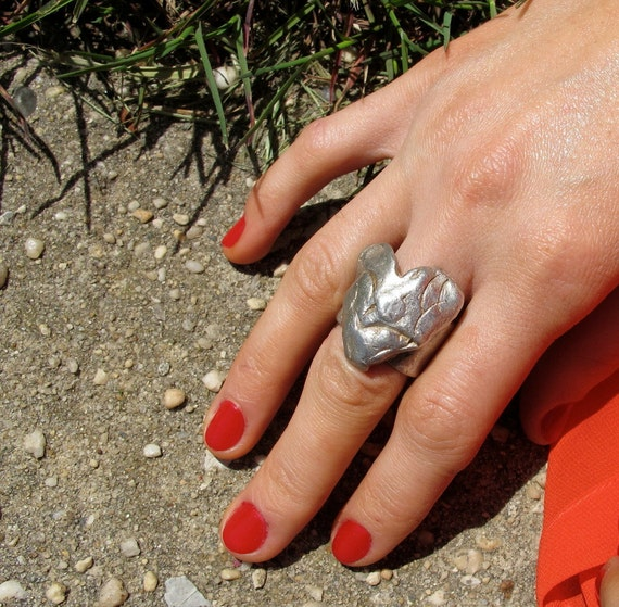 """New Item The """"Big Heart"""" Ring Sterling Silver .925, sizes 7, 7 1/2, 8, free shipping, esoteric women's ring, artistic boho chic, made in USA"""