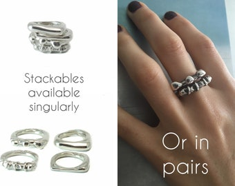 Spring Street Sterling Silver .925 Stackable Four Ring Assortment, Sizes 5, 6, and 7