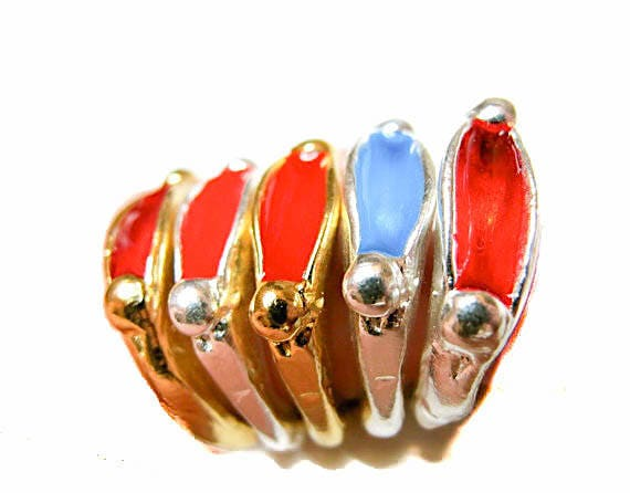 Gold, Silver Plated Enameled Stackable Ring, rings for her and him, fun pop art ring, enameled brass rings, made in Brooklyn, USA