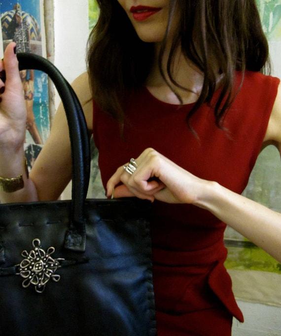 Handmade, limited edition, black minimalist leather tote