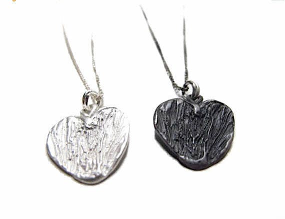 """Boho Heart, Sterling Silver .925 shiny and oxidized options, on 16"""" SS .925 chain, Mother's Day Gift, free shipping, handmade in USA"""