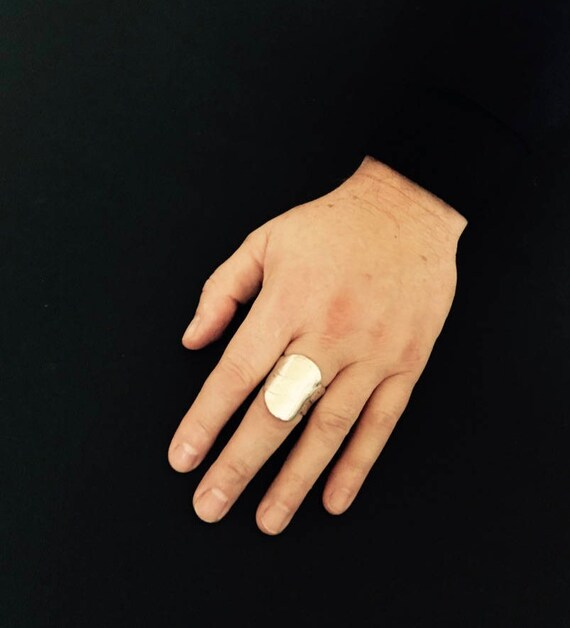 The McQueen Ring, abstract artistic silver men's ring, made in USA, hand-crafted, made-to-order, unique silver ring