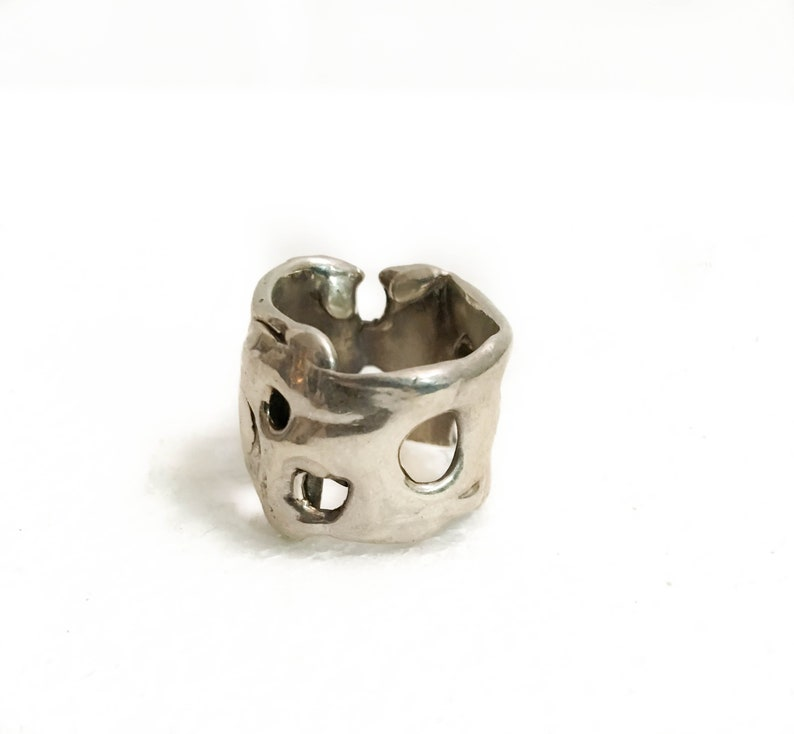 Modern Swiss Cheese Sterling Silver .925 Ring New Item Handmade as seen on Stylette.com Whimsical Cool Unisex Rings New Collection