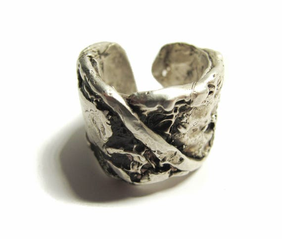 The Othello Ring, bold artistic silver men's ring, made in USA, hand-crafted, made-to-order, game of thrones ring, Sizes 10-13